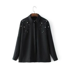 Women Pearl Blouse Black Long Sleeve Shirt Turn-down Collar Beading Top Loose Casual Blusa Chemisier Femme Vetement(China)