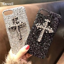 Kerzzil For iphone 7 Luxury Shining Diamond Glitter Phone Case for IPhone 6 6S 6plus 7 7plus Cross Crystal Bling Hard Back Cover