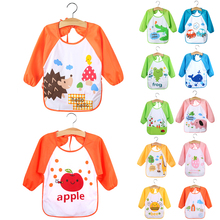 Waterproof Baby Toddler Self Feeding Bibs Burp Cartoon Animals Fruits Pattern Kids Long Sleeve Art Smock Bib Apron