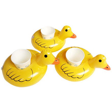 6pcs/lot Water Inflatable Duck Drink Cup Transportor Swim Ring Holiday Water Fun Pool School Toys