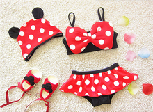 2017 New Children's Swimwear Two pieces swimwear bikini Polka Dot girls bathing suits baby kids swimming suit red