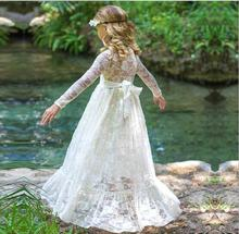 White Red Girl Lace long Dress 2017 New Girls Party Dress Fashion Elegant Kids Belle Christmas Dresses Cute Childrens Clothes