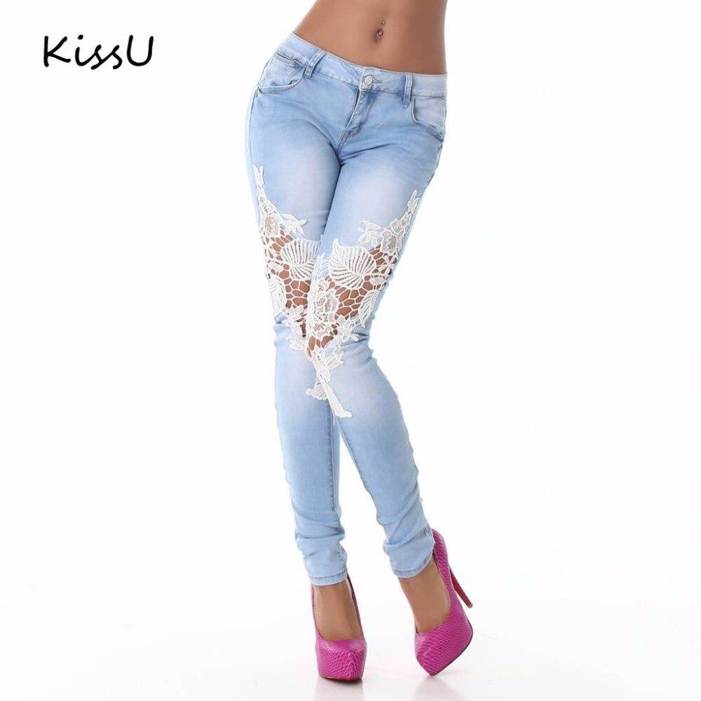 2017 Women Lace Jeans Pants Floral Splice Low Waist Jeans Casual Women Denim Pencil Pants Boyfriend Skinny Jeans for femme 25Одежда и ак�е��уары<br><br><br>Aliexpress