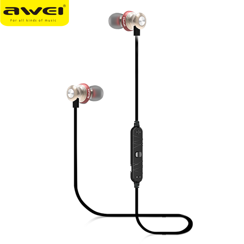 100% AWEI A980BL Bluetooth Earphone Sports Magnetic Earphones Wireless With Microphone Noise Isolation In-ear Earbuds For Phone<br>
