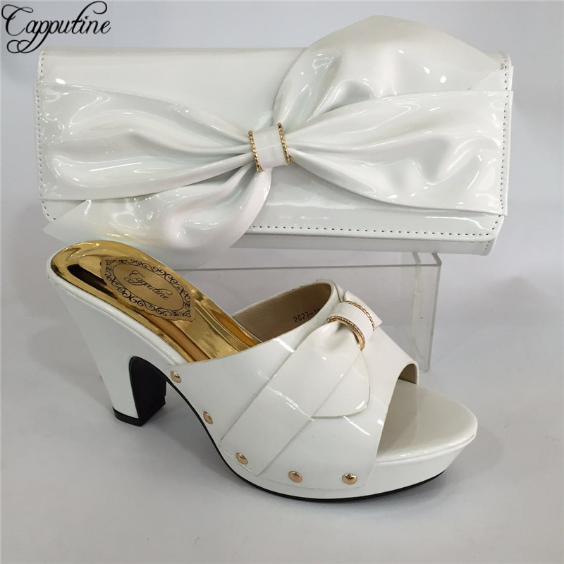Capputine New Arrival Green Blue Shoes And Bag Sets Italian Ladies Pumps Shoes And Bags To Match Set For Party Dress BL695C