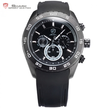 Spinner SHARK Sport Watch Male Clock Black Dial Rubber Band 6 Hands Chronograph 24 Hrs Display Men Outdoor Quartz Watches /SH260(China)