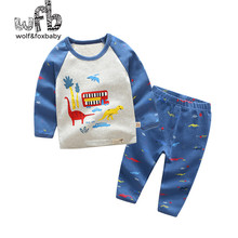 Retail 1-10 years cotton long-sleeves T-shirt home service + pants printed dinosaur children spring fall autumn