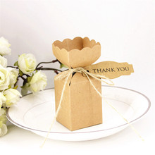 50Pcs/lot  Kraft Paper Small Flower Favor  Boxes with Rope and Cards Party Decoration Box for Wedding Invitations and Souvenir