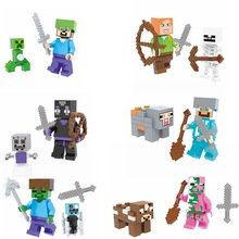 Minecrafte Single Sale Mini Dolls with Weapons My World Compatible with Legoing Building Blocks Models Toys for Children TM7001