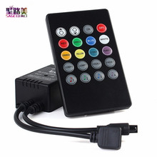 2016 LED Music IR Controller 12V 2A 20 Keys IR Remote Controller Sound Sensor for 3528 5050 RGB LED Strip Lights Mini Controller