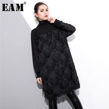Buy EAM 2018 new spring high collar long sleeve solid color black loose geuze tassels split joint dress women fashion tide JE28501 for $21.75 in AliExpress store