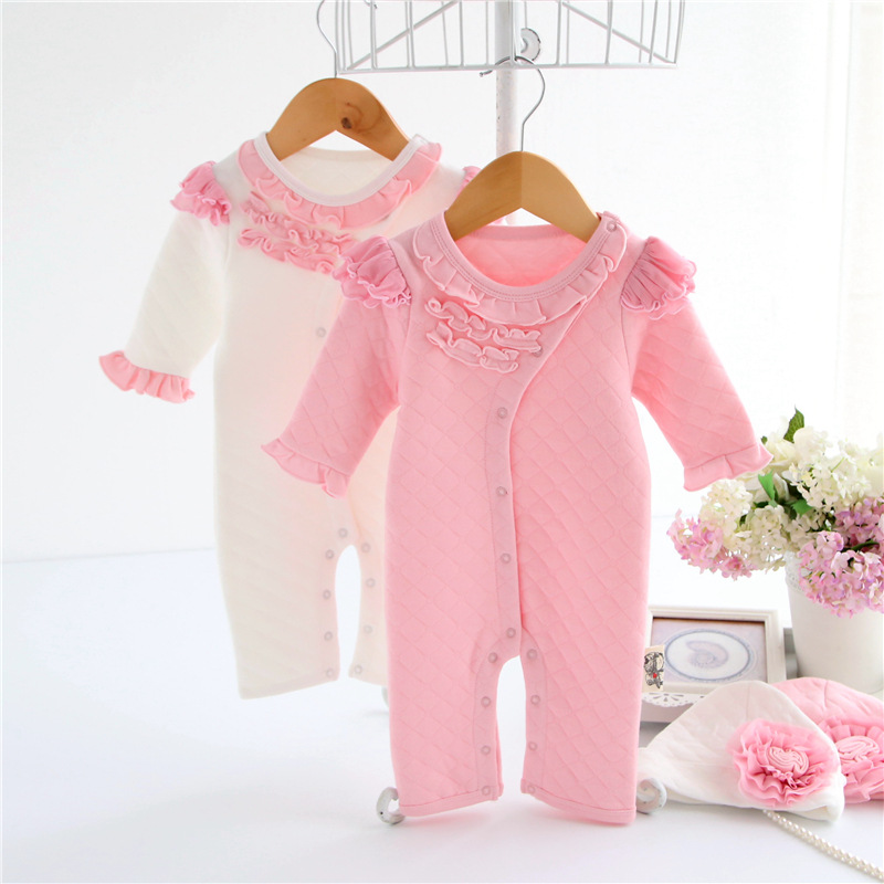 New Spring Autumn Baby Girl Rompers Long Sleeve Flowers Baby Rompers + Hat Striped Plaid Cotton Baby Clothing Pink White<br><br>Aliexpress
