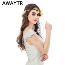 AWAYTR Flower Wreath Girl Head Rose Flower Crown Bridal Hair Accessories Wedding Headband Kid Party Floral Garlands Adjustable(China)