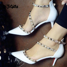 NEW woman High heels shoes Ladies Sexy Pointed Toe pumps Buckle rivets nude heels dress wedding shoes