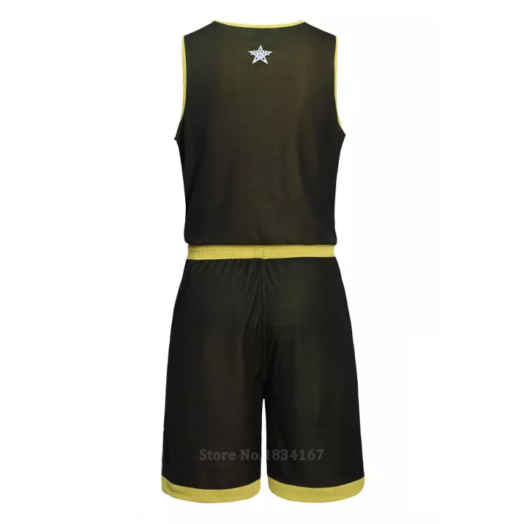 17 Men Reversible Basketball Set Uniforms kits Sports clothes Double-side basketball jerseys DIY Customized Training suits 27