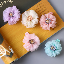 5cm Diameter Flower Girls 20PCS/LOT Hair Clip Kids Hair Camellia Floral Pink Peach Kids Summer Style Hairpin Cute Hair Wear