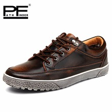 Pathfinder Spring Summer Oxfords Men Shoes Luxury Genuine Leather Sneakers Top Brand Vintage Casual Shoes Men Big Size(China)