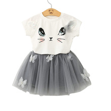 Girls Clothes sets 2017 Summer Girl Fashion Lace Tulle cartoon hello kitty suit Kids set For Girls Cute cat T-shirt+Skirts sets