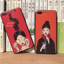 Fashion Relief Girl With Stand Holder Phone Case For iPhone 6 6S Plus 7 7Plus Cute Cartoon lemon Hot dog Drink Enjoy Life Case
