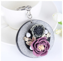 Punk Style Super Cool Rose Flower Cosmetic Mirror Keychain Pendant For Woman's Bag Handbag Purse Charms Ornament(China)