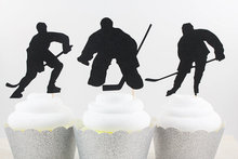 Ice Hockey Silhouette Cupcake Toppers sports event Party Picks baby shower wedding birthday toothpicks decor