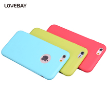 Lovebay Candy Colors Phone Case For iPhone 7 7 Plus 6 6s Plus 5 5s SE Soft TPU Silicon Fashion Back Coque Case With Logo Window