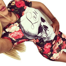 Buy 2017 Newest Floral Print Skull Women's Summer Dress Sexy Hollow Cut Sheath Short Sleeve Bodycon Casual Mini Club Vestidos for $5.91 in AliExpress store
