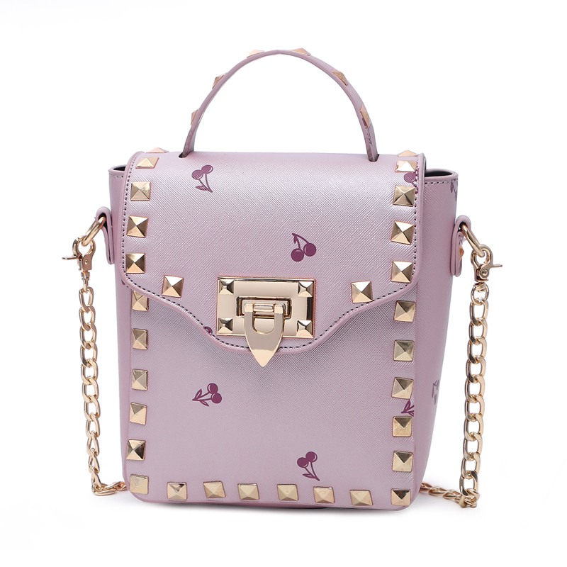 Hot Sale Fruit Printing PU Leather Women Bag Fashion Rivet Women Messenger Bag Chain Shoulder Bag<br><br>Aliexpress