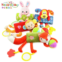HAPPY MONKEY Infant Plush Toy Strap Doll Stroller Pendant Toy Bed Strap animal toys bed hanging appease toys WJ462(China)