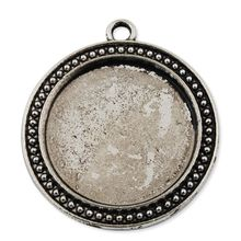 38 MM Antique Silver Round Alloy Cameo Cabochon Base Setting Pendants, Blank Pendant Trays, 20 pcs/lot-C1765