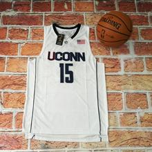 2017 New Uconn #15 Huskies Kemba Walker Home White Basketball Jersey For Men Embroidery Logos College basketball Jersey(China)