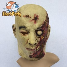 New Halloween Cosplay Latex Bloody Zombie Mask Melting Face Walking Dead Scary Party Mask Mardi Gras Ball Masks T50
