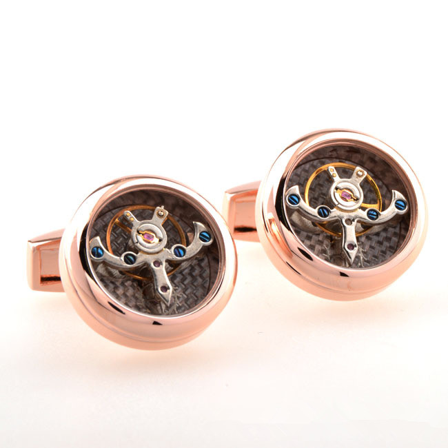 Fashion Design Cooper Materail Time shuttle Tourbillon French high-end fancy cufflinks for men