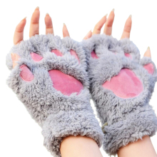 Mileegirl Ladies Winter Fingerless Gloves,Fluffy Bear Cat Plush Paw Claw Half Finger Glove,Half Cover Women Female Gloves Mitten(China)