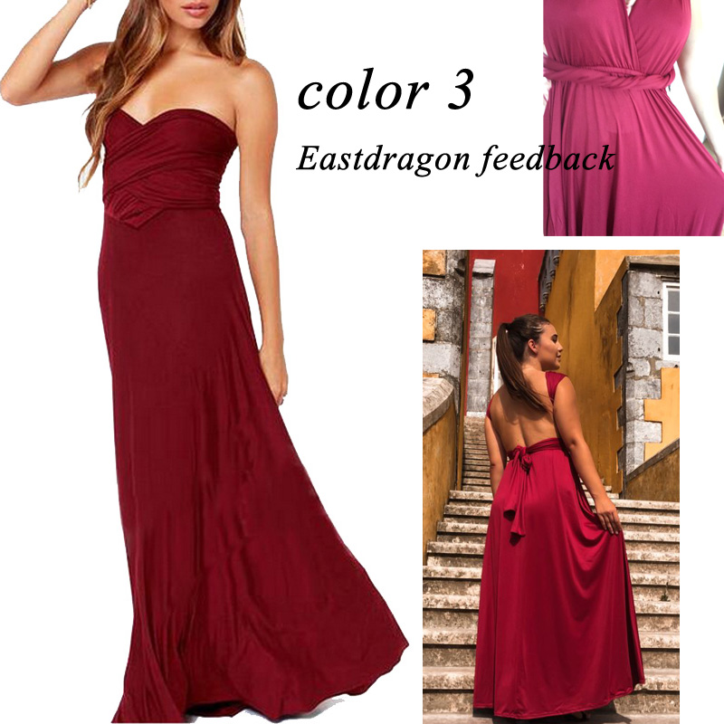 BFUSTYLE Sexy Wrap Convertible Boho Maxi Club Red Dress 6
