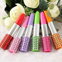 200 pcs Rhinestone Sexy Lipstick Shape Office Stationery Ballpoint Ball Pen(China)