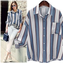 New Fashion Arrived Celebrity Runway European Style Women's Shirt Long Sleeves Turn-down Collar Striped Outwears Y0397