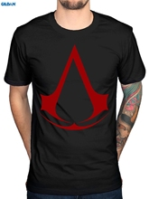 GILDAN Official Mens Assassins Creed Logo Red T-Shirt Syndicate Rogue Identity Pirates Brand Cotton Men Male Slim Fit T Shirt(China)