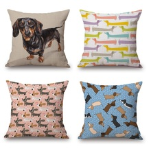 Dachshund Cushion Covers 2017 New Cartoon Sausage Dog Pillow case Pillow Covers 45X45cm Bedroom Sofa Decoration(China)