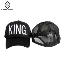 2016new QUEEN Print Trucker Caps Men Women Polyester Mesh Summer Flat Visor Snapback Hat White Black Couple Gifts