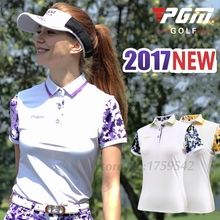 2017 New Women Golf T-Shirt Printing Pattern Lady Golf Apparel Short Sleeves Polo Shirt 86% Polyester 14% Spandex High-quality