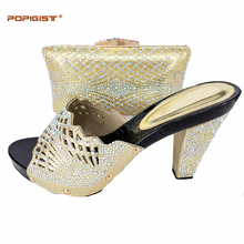 Top sales gold color Shoes and Bag Woman good quality Italian Shoes with Matching Bags African Shoes and Match with bag set(China)