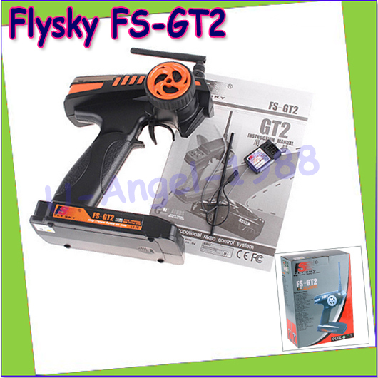 Wholesale 1pcs Flysky FS-GT2 FS GT2 2.4G 2CH Gun RC System Transmitter/Controller With 3 Channels Receiver<br>