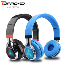 TOPROAD Glowing Stereo Casque Audio Bluetooth Headphone Wireless Big Headset Sport Earphone Mic LED Light TF FM For PC Phone