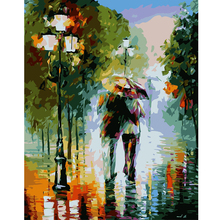 Frameless arrival unique gift Digital Oil Painting On Canvas painting by numbers decorative picture Abstract walking in the rain