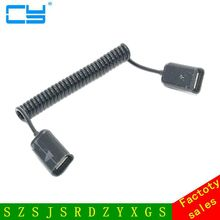 USB 2.0 Female to Female Spring Coiled Extention Coil Cable Adapter Connector 1M