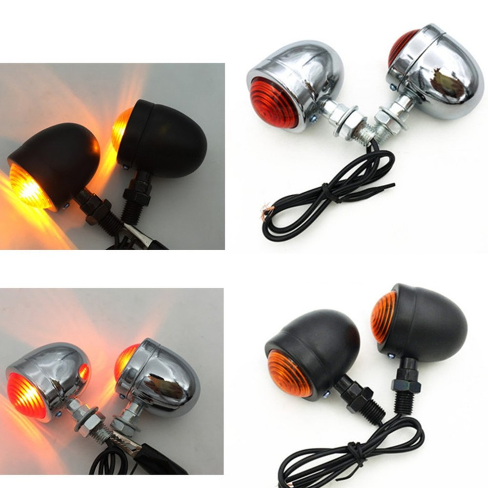 Brake-Running-Lights Indicators Bullet Led-Turn-Signals Motorcycle-Amber Universal Black title=