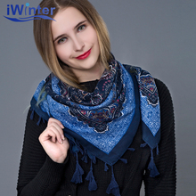 IWINTER 2018 New Winter Ethnic Scarf For Women Tassel Winter Scarf Ladies Scarf Cotton Winter Shawl Print Flower Scarves Shawl(China)
