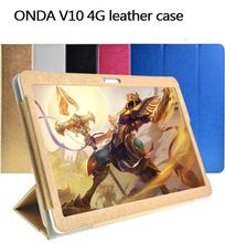 Fashion 2 fold Folio PU leather stand cover case for Onda V10 3G/4G call phone 10.1inch tablet pc Multi-color(China)