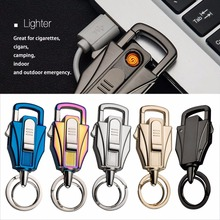 New Automobile Key Ring Buckle Men Multifunctional Cigarette Lighter Key Pendant Tungsten Lighter Gift With Charging Cable(China)